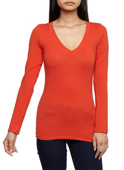 Long Sleeve V Neck Basic Top - 6204054262901