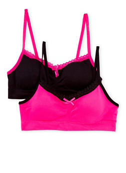 Girls 4-16 Seamless Bras 2 Pack with Lace Trim - BLACK/PINK - 6568054730201