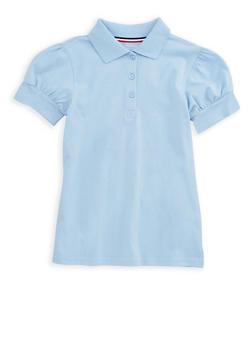 Girls 7-16 Rhinestone Short Sleeve Polo Shirt School Uniform - 6905008930002