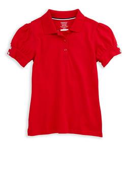Girls 7-16 Rhinestone Short Sleeve Polo Shirt School Uniform - 6905008930004