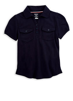 Girls 7-16 Double Pocket Polo Shirt School Uniform - 6905008930007