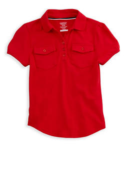 Girls 7-14 Short Sleeve Double Pocket Polo Shirt School Uniform - 6905008930008
