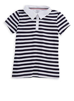 Girls 7-14 Short Sleeve Striped Polo Shirt School Uniform - 6905008930014