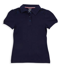Girls 7-16 Short Sleeve Polo Shirt with Lace Detail School Uniform - 6905008930016