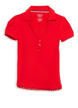 Girls 7-14 Short Sleeve Knit Polo with Lace Trim School Uniform - 6905008930020