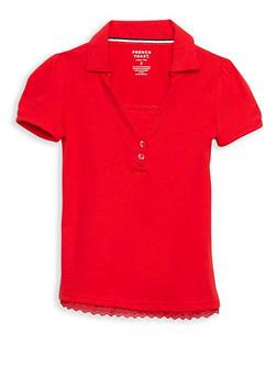 Girls 7-14 Short Sleeve Knit Polo with Lace Trim School Uniform - 6905008930020
