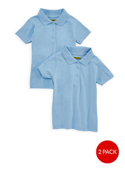 Girls 4-6x Short Sleeve Polo - 2 Pack - School Uniform | Baby Blue - Blue - Size L - 6919060990001