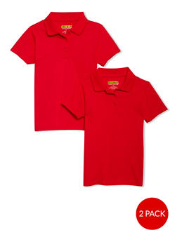 Girls 4-6x Short Sleeve Polo - 2 Pack - School Uniform | Red - 6919060990003