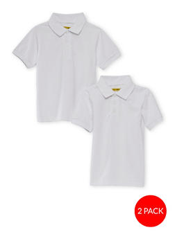 Girls 4-6x Short Sleeve Polo - 2 Pack - School Uniform | White - 6919060990004