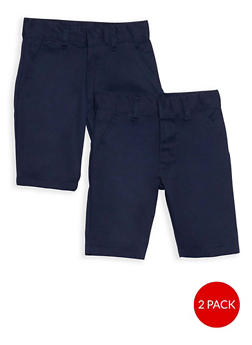 Boys 4-7 Adjustable Waist Shorts - 2 Pack- School Uniform - 6948060990002
