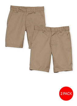 Boys 8-14  Adjustable Waist Shorts - 2 Pack - School Uniform - 6949060990001
