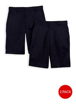 Boys 8-14  Adjustable Waist Shorts - 2 Pack - School Uniform - 6949060990002