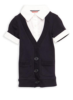 Girls 2T-4T Short Sleeve Cardigan Blouse School Uniform - 6953008930001