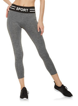 Sport Graphic Knit Waist Cropped Leggings - 7067059160853