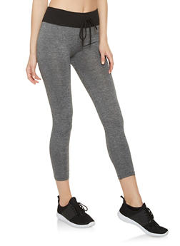 Ribbed Knit Waist Cropped Leggings - 7067059162853