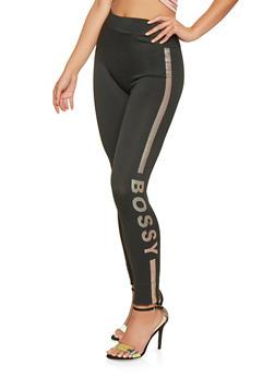 Iridescent Bossy Graphic Leggings - 7069041450012