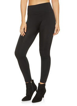 Solid Fleece Lined Leggings - 7069041453330
