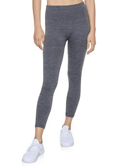 Marled Popcorn Waist Leggings | Charcoal - 7069041453331