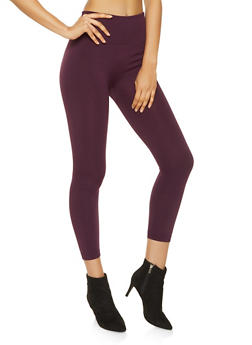 Solid Fleece Lined Leggings - 7069041453334