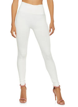 Solid Textured Knit Leggings - 7069041457773