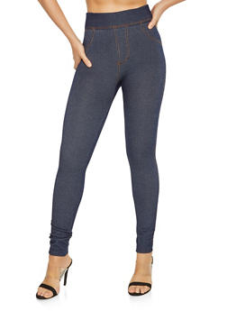 Denim Knit Leggings - 7069059162668