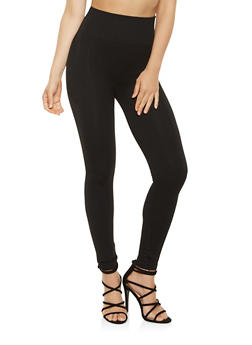 Solid Knit Band Leggings - 7069059162847