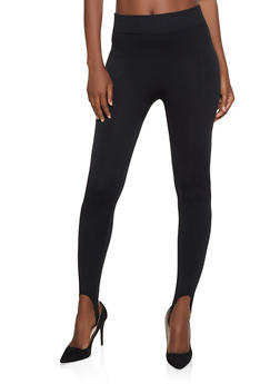 Fleece Lined Pintuck Stirrup Leggings - 7069059162880