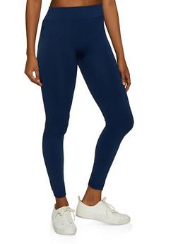 Solid Fleece Lined Leggings - 7069059168775