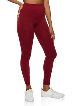 Solid Fleece Lined Leggings - 7069059168775