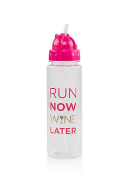 Run Now Wine Later Flip Straw Water Bottle - 7130024900345