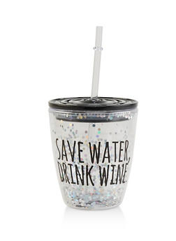 Save Water Drink Wine Sparkly Tumbler - 7130068065852