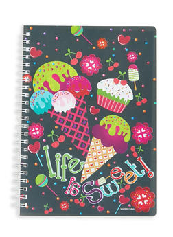 Food Print Spiral Notebook - BLACK - 7130074172624