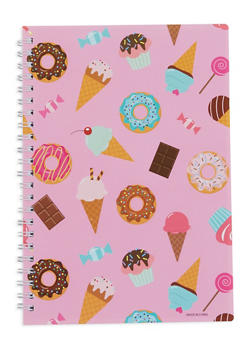 Food Print Spiral Notebook - PINK - 7130074172624