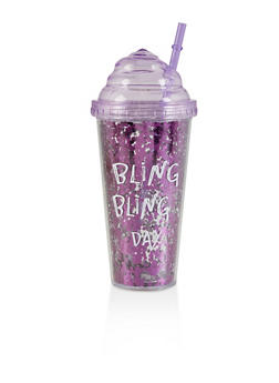 Bling Bling Day Sparkly Tumbler - PURPLE - 7130074751419