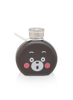 Bear Graphic Round Glass Bottle - 7130074752404