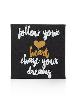 Glitter Chase Your Dreams Wall Art - BLACK - 7130074991010