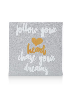 Glitter Chase Your Dreams Wall Art - SILVER - 7130074991010