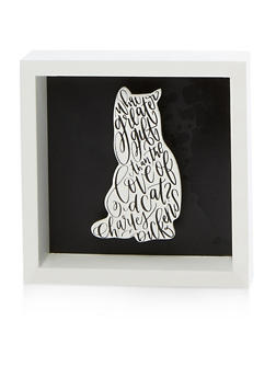 Cat Wooden Wall Art - WHITE - 7130074998524