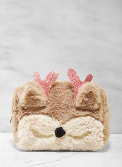 Animal Faux Fur Cosmetic Pouch - 7132024909654