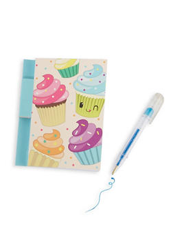 Scented Cupcake Graphic Notepad and Glitter Gel Pen - 7134075525100