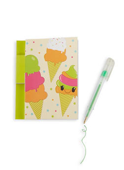 Scented Ice Cream Note Pad and Glitter Gel Pen - 7134075525200