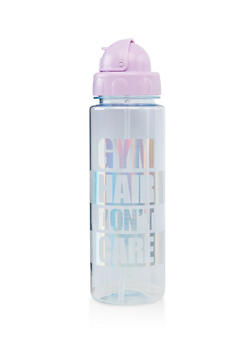 Gym Hair Dont Care Flip Straw Water Bottle - 7135024900346