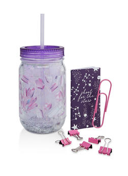 Crystal Graphic Confetti Tumbler with Stationary Set - 7135024902243