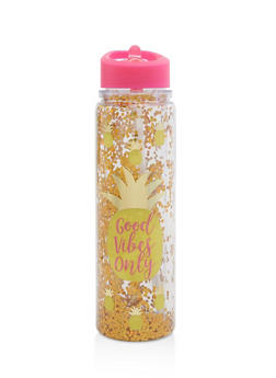 Good Vibes Only Pineapple Flip Straw Water Bottle - 7135024902629