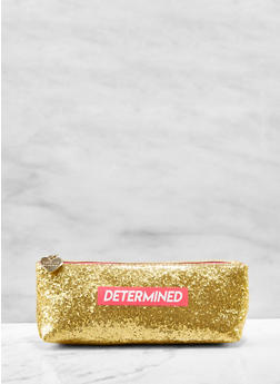 Determined Glitter Cosmetic Pouch - 7135024907597