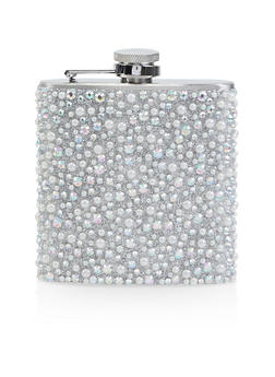 Rhinestone and Faux Pearl Studded Flask - 7137074171002