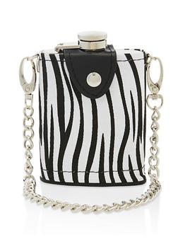 Zebra Print Chain Strap Flask - 7137075962204
