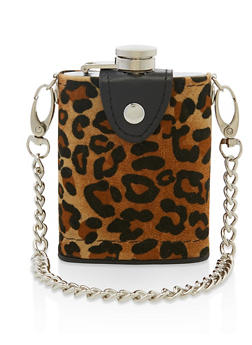 Leopard Chain Strap Flask - 7137075962205