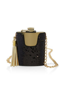 Reversible Sequin Chain Strap Flask - 7137075966555