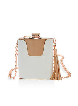 Faux Croc Chain Strap Flask - 7137075968358